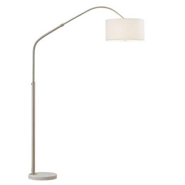 """Germantown Aero Retractable 81"""" Arc Floor Lamp - Brushed Nickel/White - Wayfair"""