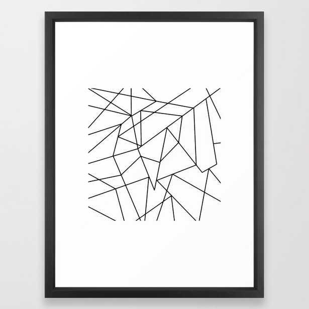 "Simple Modern Black and White Geometric Pattern Framed Art Print - 20"" x 26"" - Society6"