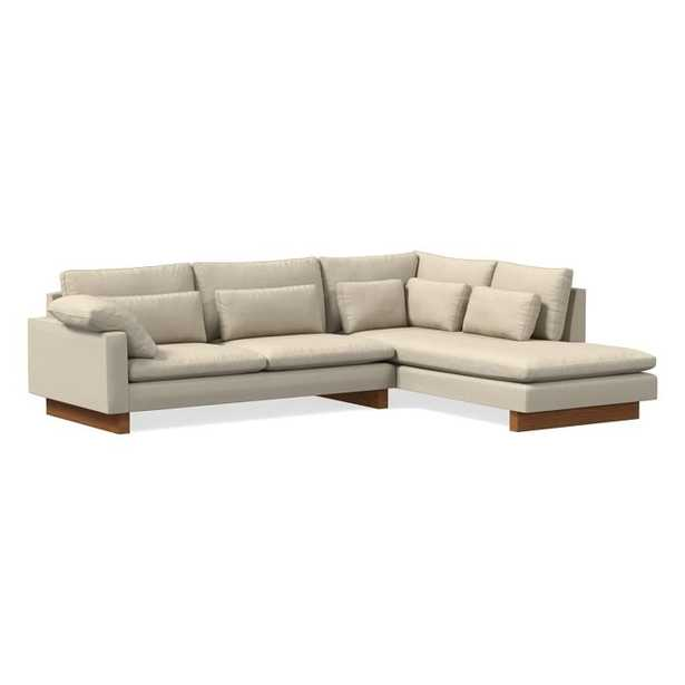 Harmony Sectional Set 13: Left Arm 2 Seater Sofa, Right Arm Terminal Chaise, Down Fill, Chenille Tweed, Silver Gray, Dark Walnut - West Elm