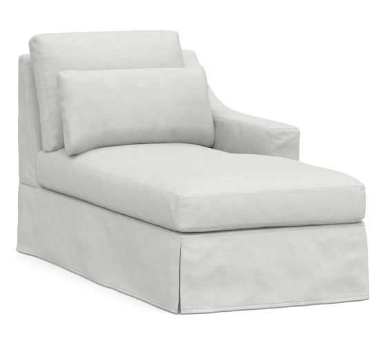 York Slope Arm Slipcovered Deep Seat Right-arm Chaise, Down Blend Wrapped Cushions, Performance Slub Cotton White - Pottery Barn