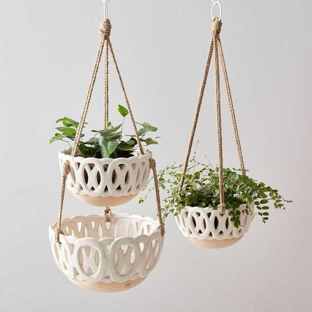Skinny Ceramics Hanging Planter, Single - West Elm