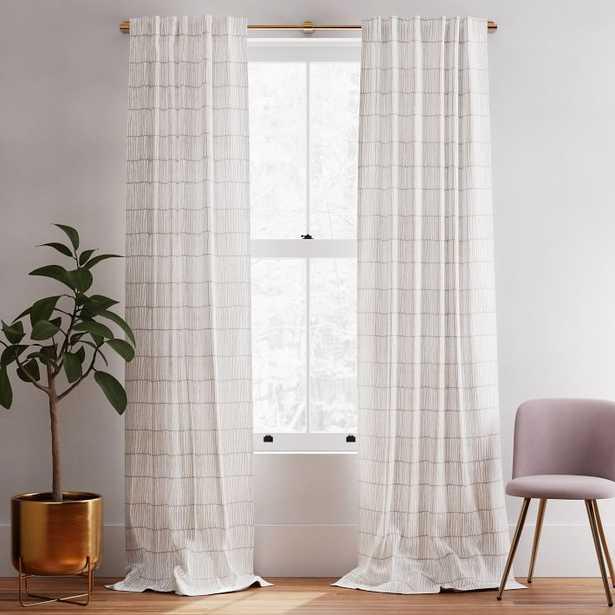 "Line Lattice Curtain, Stone Gray Stone White, Set of 2, 48""x96"" - West Elm"