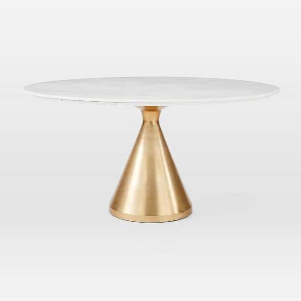 """Silhouette Pedestal Dining Table, Round White Marble, Large, Antique Brass, 60"""" - West Elm"""