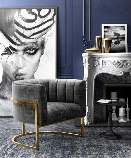 McPherson Slub Morgan Chair with Lilly Base - Maren Home