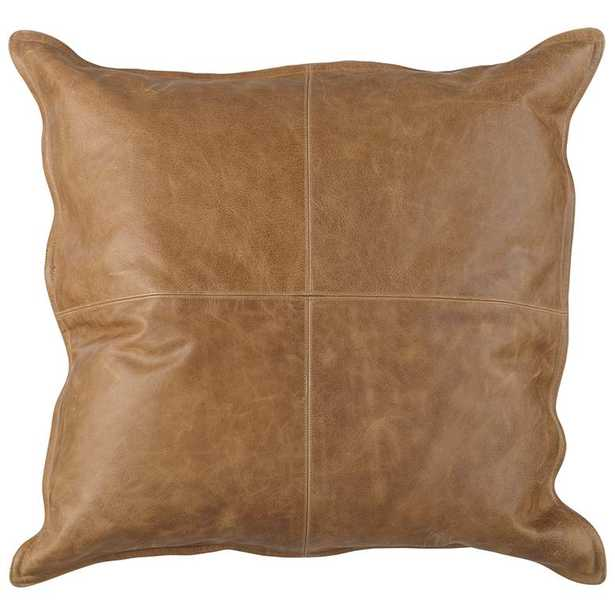 """Leather 22"""" Square Throw Pillow - Lamps Plus"""