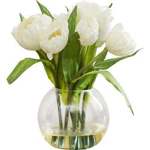 Tulips Arrangement with Vase - Wayfair