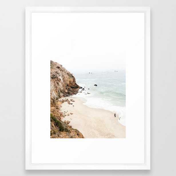 "Malibu California Beach Framed Art Print - Vector White, 20"" x 26"" - Society6"