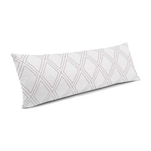Large Lumbar Pillow _Diamonds Are Forever - Ash- 14x48 - Down insert - Loom Decor