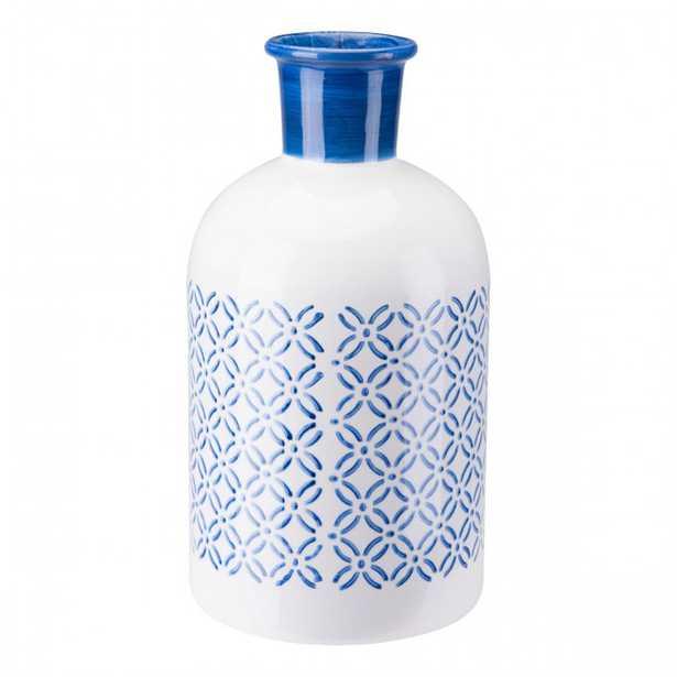 Bottle Lg Steel Blue And White - Zuri Studios