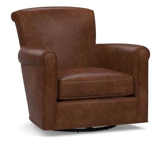 Irving Leather Swivel Armchair, Polyester Wrapped Cushions, Statesville Molasses - Pottery Barn