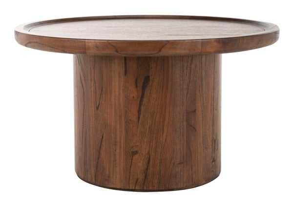 Devin Round Pedestal Coffee Table - Dark Brown - Arlo Home - Arlo Home