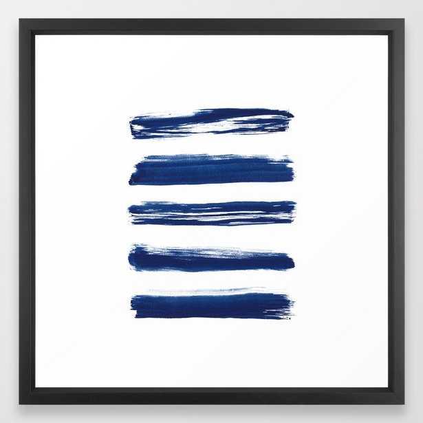 "Indigo Brush Strokes   No. 2 Framed Art Print, FRAME Vector Black, SIZE Medium (gallery) - 22"" X 22"", - Society6"