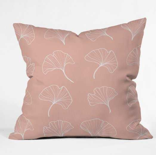 Blush Ginkgo Leaves Outdoor Throw Pillow - Wander Print Co.