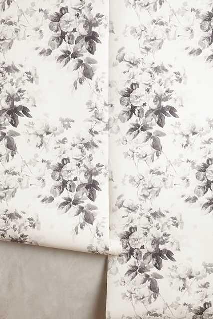 Smoky Rose Wallpaper,Smoke Grey - Anthropologie