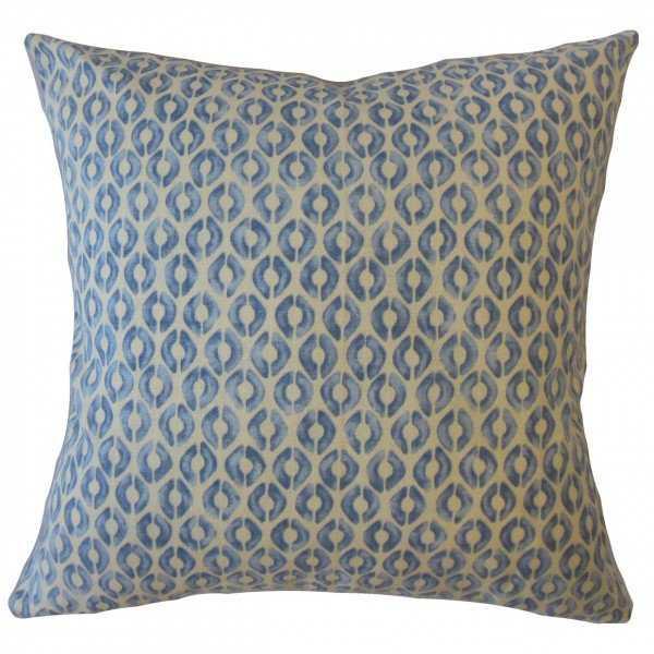 """Landen Geometric Pillow Blue 22"""" - Linen & Seam"""
