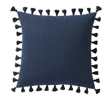 """Tassel Trim Indoor/Outdoor Pillow, 18"""", Ink - Pottery Barn"""
