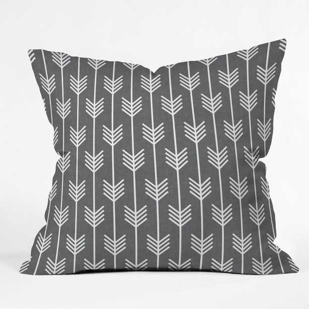 """Grey arrows Throw Pillow - insert included 16"""" - Wander Print Co."""