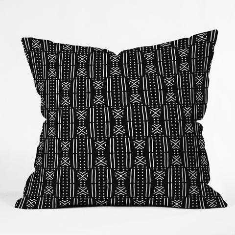 "Holli Zollinger MUDCLOTH BLACK Throw Pillow - 16"" x 16"" - Wander Print Co."