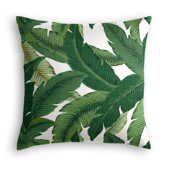 "Green Banana Leaf Outdoor Pillow, 20"" x 20"", Poly insert - Loom Decor"