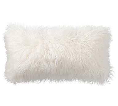"Mongolian Faux Fur Lumbar Pillow Cover, 12 x 24"", Ivory - Pottery Barn"