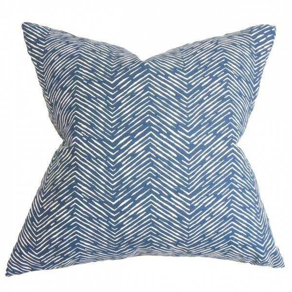 "Edythe Zigzag Pillow Blue- 18"" x 18""- poly insert - Linen & Seam"