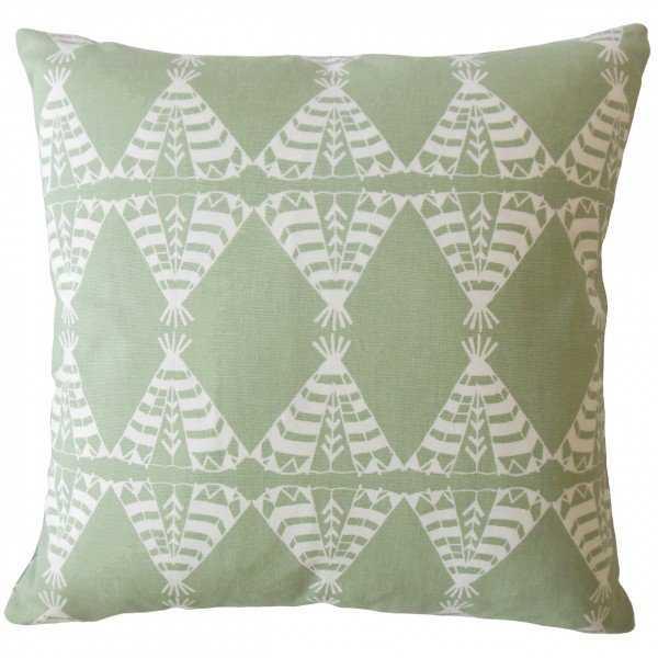 Eamhair Graphic Pillow Green, Down Insert - Linen & Seam