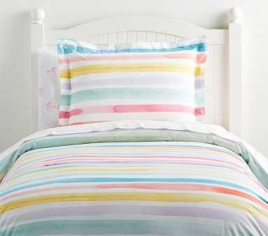 Organic Kayla Rainbow Stripe Duvet Cover, Twin, - Pottery Barn Kids