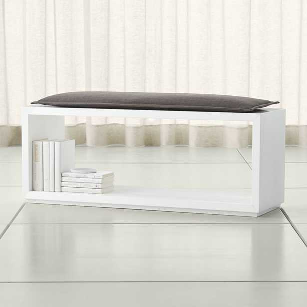 """Aspect White 47.5"""" Open Bench with Cushion - Crate and Barrel"""
