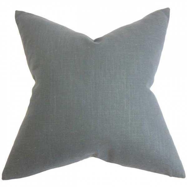 "Yaretzi Solid Pillow Gray -20"" x 20"" - with down insert - Linen & Seam"