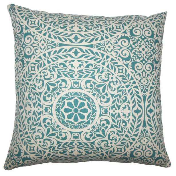 Kiasax Damask Pillow Teal - 18x18 - Down Insert - Linen & Seam