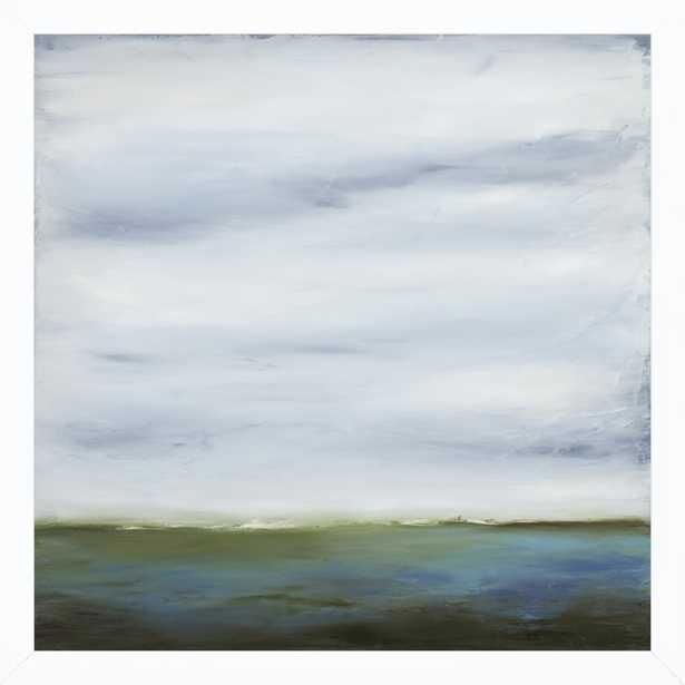 "Emerald Waters - 16 x 16"" - white wood frame no matte - Artfully Walls"