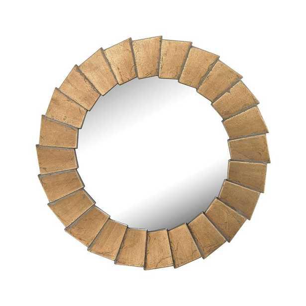 Qattara Composite Frame Wall Mirror In Bright Gold - Rosen Studio