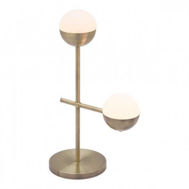 Waterloo Table Lamp White & Brushed Bronze - Zuri Studios