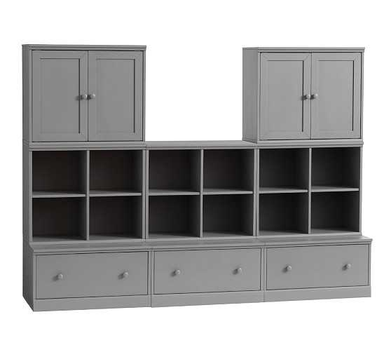 Cameron 3 Cubby & 3 Drawer Base & 2 Cabinet, Charcoal - Pottery Barn Kids