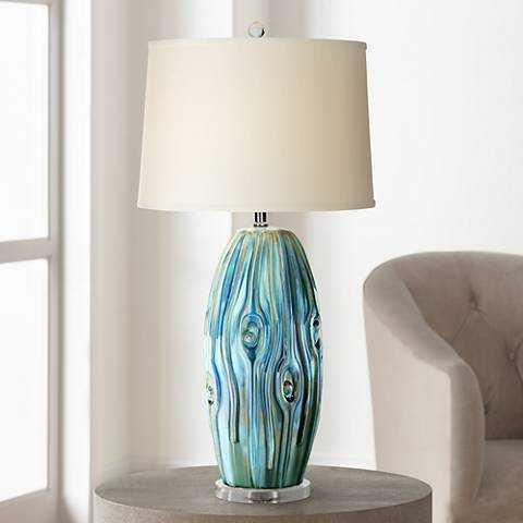 Possini Euro Eneya Blue Ceramic Table Lamp - Lamps Plus