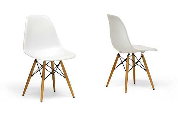Azzo White Plastic Dining Chairs (Set of 2) - Lark Interiors