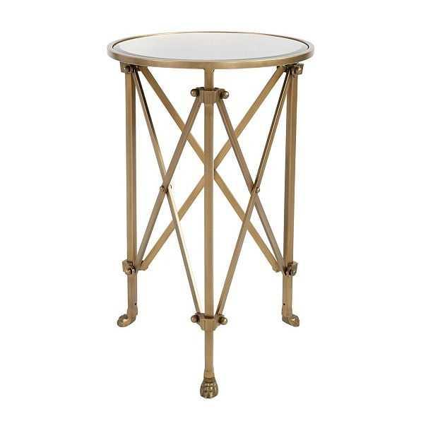 Olivia Mirrored Side Table, Vintage Brass - Ballard Designs