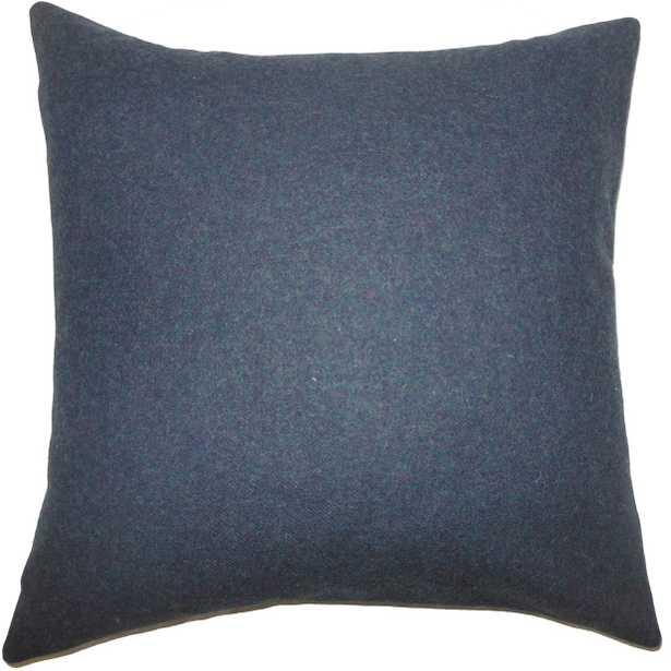 """Eire Solid Pillow Blue - 20""""x20''- Down Insert - Linen & Seam"""