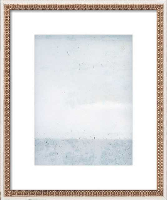 """Overast - Soft Blues - FINAL FRAMED SIZE: 16x20"""" Distressed Cream Double Bead Wood, frame width 1.25"""", depth 1.69"""" - Artfully Walls"""