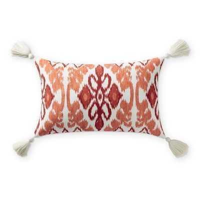 """Outdoor Printed Atin Ikat Lumbar Pillow, 14"""" X 22"""", Melon - Williams Sonoma"""