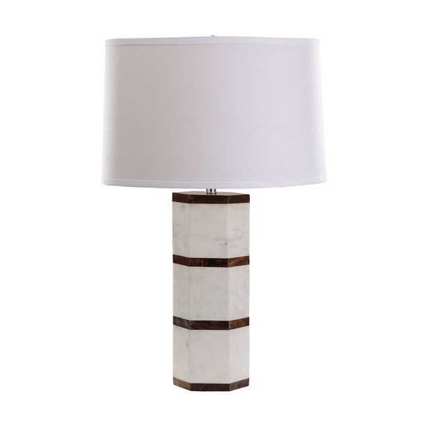 White Marble And Wood Hexagon Table Lamp - Rosen Studio