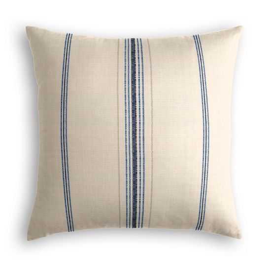 Throw Pillow  Burlap Of Luxury - Blueberry - 18x18- Down Insert - Loom Decor