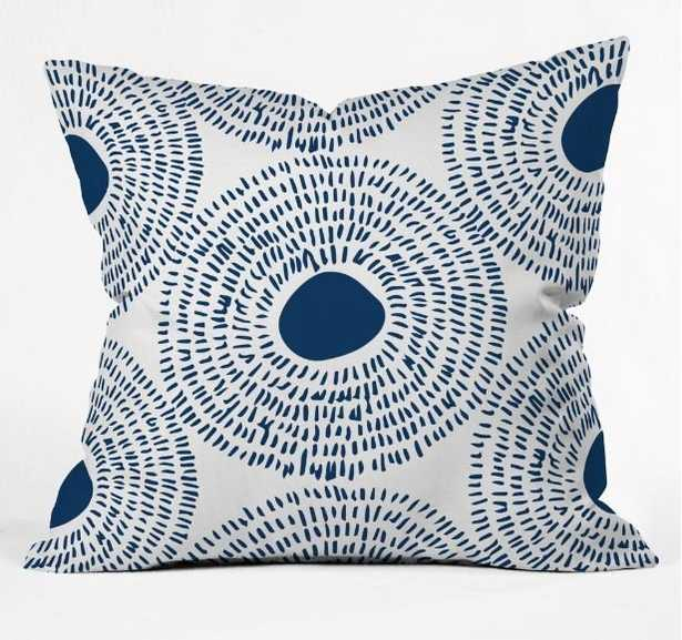 CIRCLES IN BLUE II Outdoor Throw Pillow - 20 x 20- Polyester Insert - Wander Print Co.