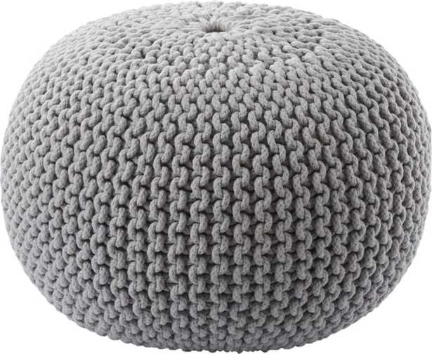 Knitted Pouf, Silver Gray - CB2