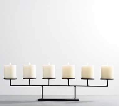 Row Centerpiece Candleholder, Bronze Pillar - Multi - Pottery Barn