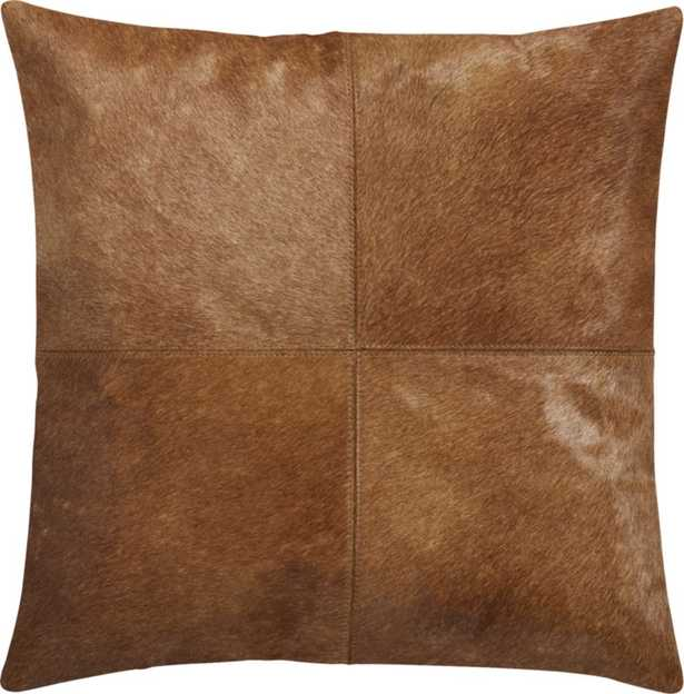 """18"""" Abele Brown Cowhide Pillow with Down-Alternative Insert - CB2"""