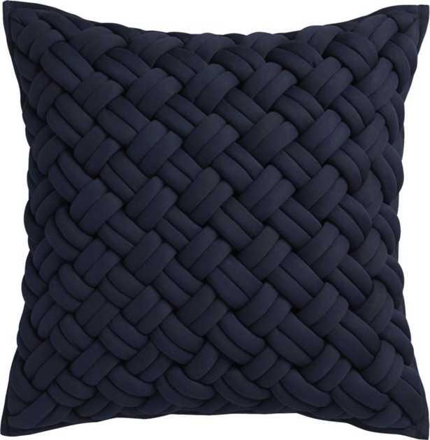 "20"" jersey interknit navy pillow with down-alternative insert - CB2"
