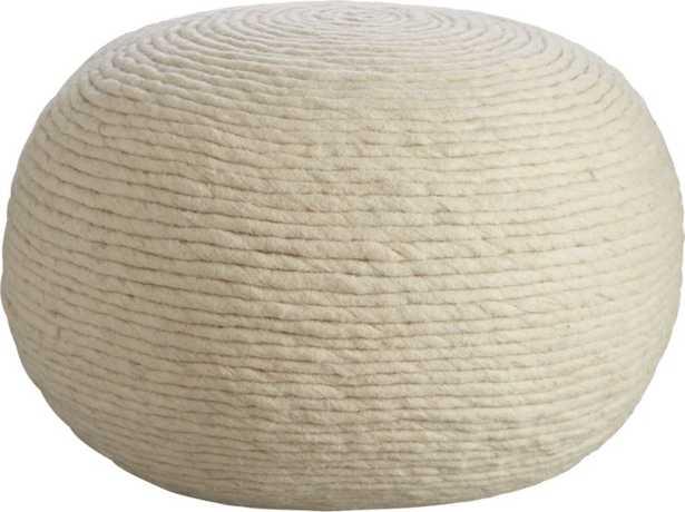 Wool Wrap Natural Pouf - CB2