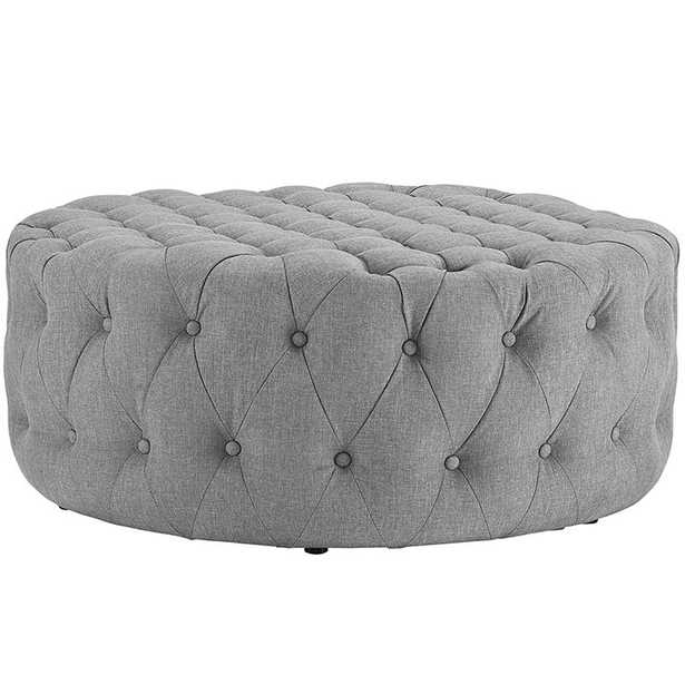 AMOUR UPHOLSTERED FABRIC OTTOMAN IN LIGHT GRAY - Modway Furniture