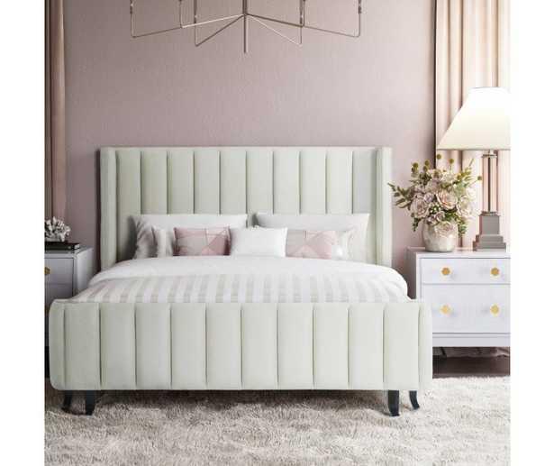 Royalty Cream Velvet Bed in Mckinley - Maren Home